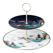Wedgwood - Wonderlust Blue Pagoda Two-Tier Cake Stand
