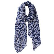 DLUX - Animal Print Wool/Silk Scarf Navy