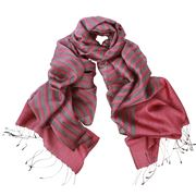 DLUX - Bronte Wool/Silk Woven Stripe Wrap Rose