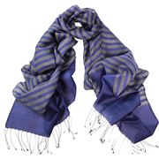 DLUX - Bronte Wool/Silk Woven Stripe Wrap Royal