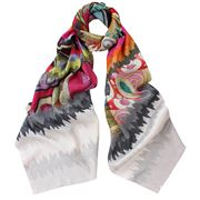 DLUX - Laurel Digital Print Silk Scarf Olive