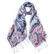 DLUX - Palma Silk Hand Printed Scarf Blue