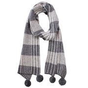 DLUX - Lopez Lambswool Mix Check Scarf W/Pom Poms Grey