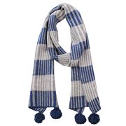 DLUX - Lopez Lambswool Mix Check Scarf W/Pom Pom Blue