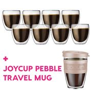Bodum - Pavina Dbl-Wall Glass Pay 6 Get 8 + Joycup Pebble