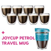 Bodum - Pavina Dbl-Wall Glass Pay 6 Get 8 + Joycup Petrol