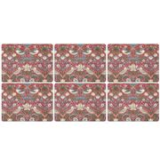 Pimpernel - Strawberry Thief Morris Placemat Set Red 6pce