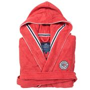 Lexington - Unisex Hood Terry Robe Red/White Extra Small