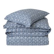 Lexington - Blue Printed Sateen Blue/White Flat Sheet Small