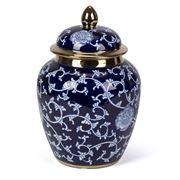 Fancy - Round Jar With Lid Blue & White 32cm