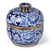 Fancy - Chinese Boxe Porcelain Jar White/Blue