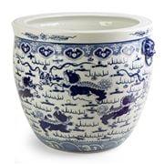 Luxe By Peter's - Flower Pot White/Blue Langham 63cm