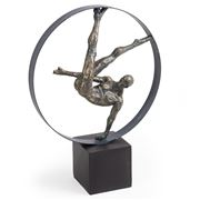 Luxe By Peter's - Antique Gold Resin Gymnast In Hoop 35x41