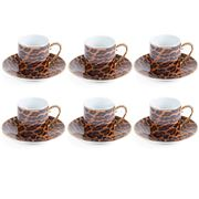 Fancy - Espresso Set W/Golden Trims  Leopard 6pce