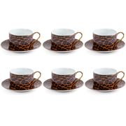 Fancy - Tea Set W/Golden Trims Leopard 6pce