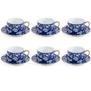 Luxe By Peter's - Tea Set Cherry Blossom Blue 6pce