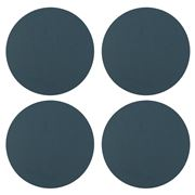 Vacavaliente - Recycled Leather Circ Coaster Blue Set 4pce