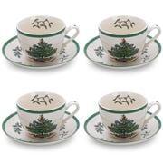 Spode - Christmas Tea Cup & Saucer Set 8Pce