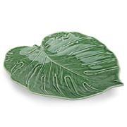 Bordallo Pinheiro - Green Swiss Cheese Leaf Platter 43cm