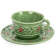 Bordallo Pinheiro - Holly Espresso Cup & Saucer Set
