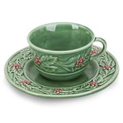 Bordallo Pinheiro - Holly Tea Cup And Saucer