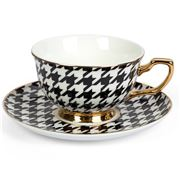 Cristina Re - Classique Houndstooth Teacup & Saucer Ebony