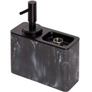Interdesign - Black Marble Soap Pump with Ring Tray
