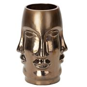 Abhika - Ming Face Ceramic Vase Brown 16x32cm