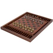 Italfama - Chess Set Metal Pieces/Leather Board/Wooden Box