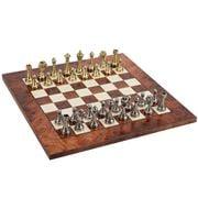 Italfama - Metal Chessmen + Briar Elm Chessboard 42x42cm