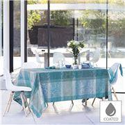 Garnier-Thiebaut - Nappe Mille Dentelle Turquoise Enduit