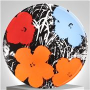 Ligne Blanche - Limoges Andy Warhol Plate Flower Blue/Orange
