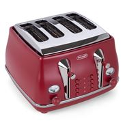 DeLonghi - Icona Elements Four-Slice Toaster CTOE4003 Red