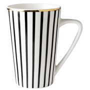 Dutch Rose -  Black Strip Mug with Golden Rim XL  430ml