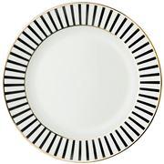 Dutch Rose - Plate w/Black Striped Border Golden Edges 26cm