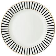 Dutch Rose - Black Stripe Plate With Golden Trim  21cm