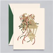 Crane & Co - Hand Engraved Holly Lantern Cards 10pce