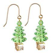 Cotton & Co - Green Swarovski Christmas Tree Gold Earrings