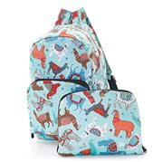 Eco-Chic - Foldable Backpack Llama Blue