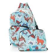 Eco-Chic - Foldable Backpack Llama Blue