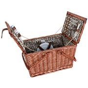 Avanti - 4 Person Wicker Picnic Basket Leopard Lining w/Hndl