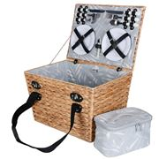 Avanti - 4 Person Bulrush Picnic Basket w/Pouch Palm Leaf