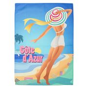 L'Ensoleillade - Impression Cannes Beach Hat Tea Towel