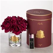 Cote Noire - Vase Twelve Roses Carmine Red w/Burgundy Box