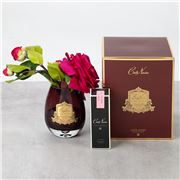 Cote Noire - Vase Teardrop Rose Carmine Red w/BurgundyBox LE
