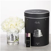 Cote Noire - Vase Twelve Ivory White Roses Black Box