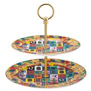 Rosenthal - Versace Holiday Alphabet Cake Stand 2 Tiers