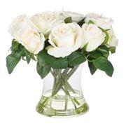 Florabelle - White Rose In Glass Vase
