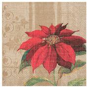 IHR - Lunch Napkin Christmas Blossom/Light Brown 20pce