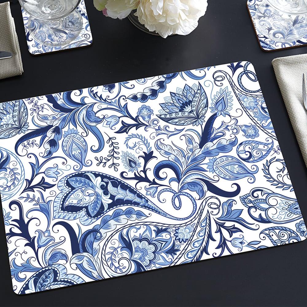 NEW-Cala-Home-Hardboard-Placemat-Set-Blue-Paisley-4pce thumbnail 2